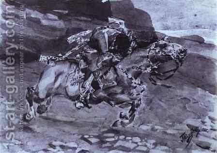 Rider 1890-91 by Mikhail Aleksandrovich Vrubel - Reproduction Oil Painting