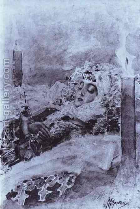 Tamara Lying in State, 1890-91 by Mikhail Aleksandrovich Vrubel - Reproduction Oil Painting