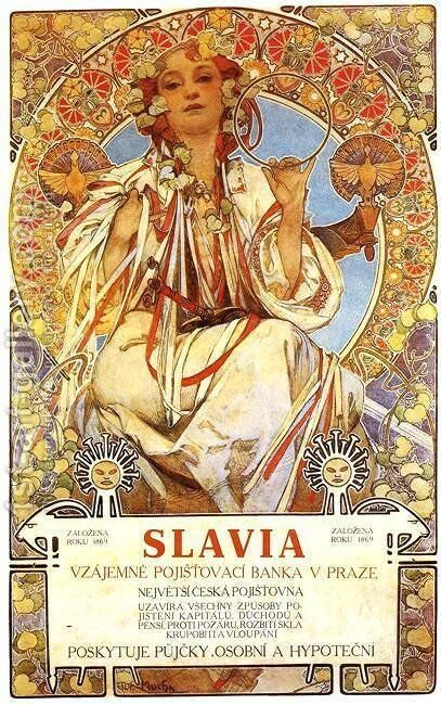 Slavia, 1896 by Alphonse Maria Mucha - Reproduction Oil Painting