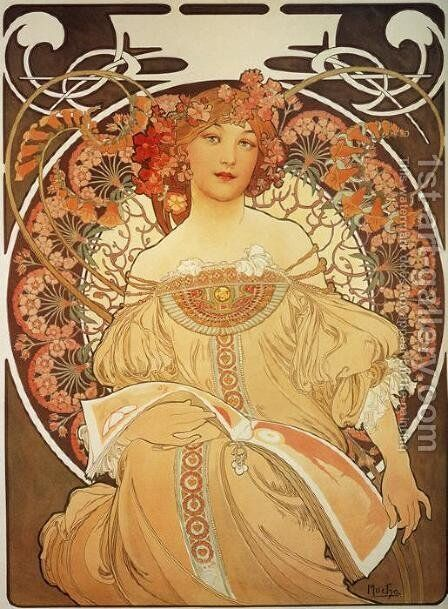 Reverie, 1897 by Alphonse Maria Mucha - Reproduction Oil Painting
