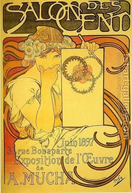 Salon des Cent, 1897 by Alphonse Maria Mucha - Reproduction Oil Painting