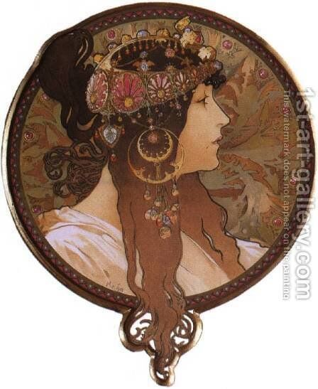 Byzantine Head: The Brunette. 1897 by Alphonse Maria Mucha - Reproduction Oil Painting
