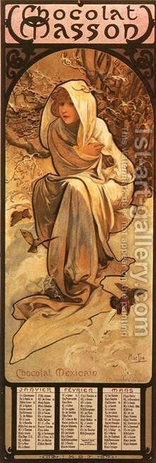 The Four Seasons: Winter. 1897 by Alphonse Maria Mucha - Reproduction Oil Painting
