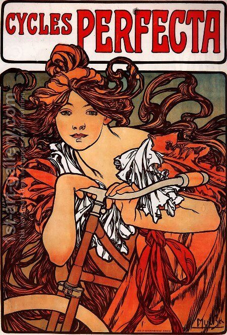 Cycles Perfecta. c. 1897 by Alphonse Maria Mucha - Reproduction Oil Painting