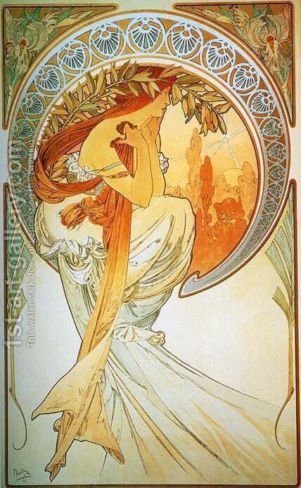 Dance. From The Arts Series. 1898 by Alphonse Maria Mucha - Reproduction Oil Painting