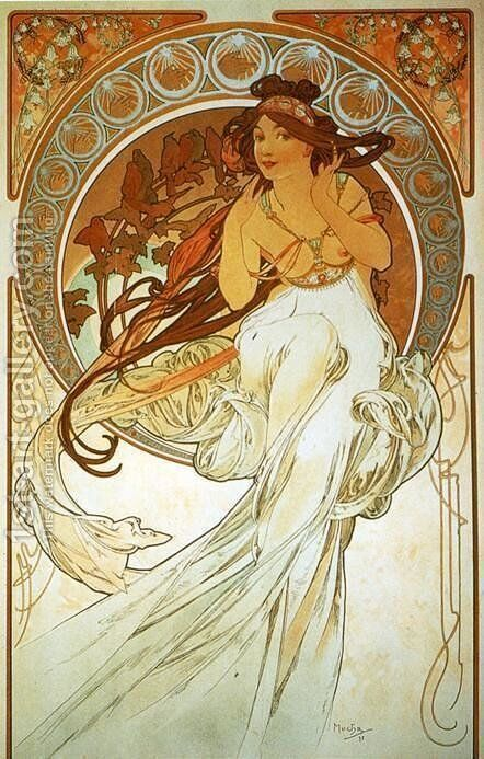 Music. From The Arts Series. 1898 by Alphonse Maria Mucha - Reproduction Oil Painting
