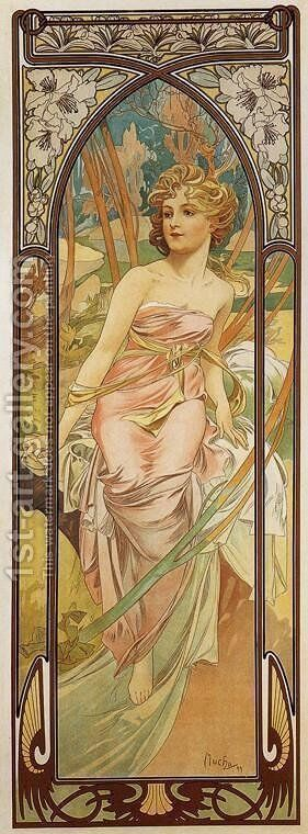 Morning Awakening. From The Times of the Day Series. 1899 by Alphonse Maria Mucha - Reproduction Oil Painting