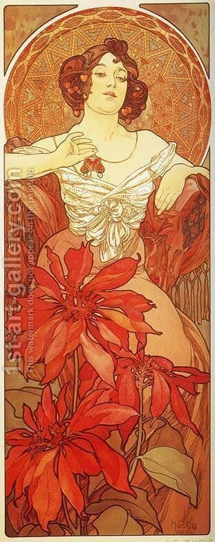 Ruby. From The Precious Stones Series. 1900 by Alphonse Maria Mucha - Reproduction Oil Painting