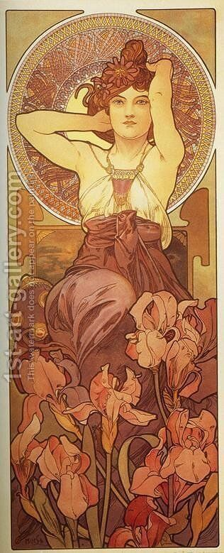 Amethyst. From The Precious Stones Series. 1900 by Alphonse Maria Mucha - Reproduction Oil Painting