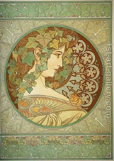 Ivy, 1901 by Alphonse Maria Mucha - Reproduction Oil Painting