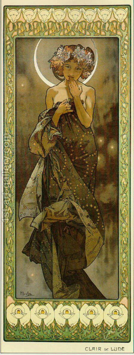 Evening Star. From The Moon and the Stars Series. 1902 by Alphonse Maria Mucha - Reproduction Oil Painting