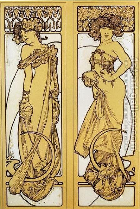 Two Standing Women. Design for Documents décoratifs. Plate 45. 1902 by Alphonse Maria Mucha - Reproduction Oil Painting