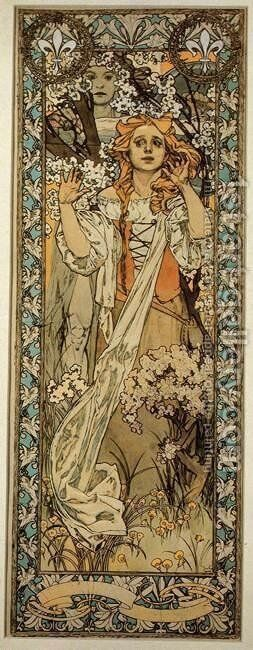 Joan of Arc (Maude Adams), 1909 by Alphonse Maria Mucha - Reproduction Oil Painting
