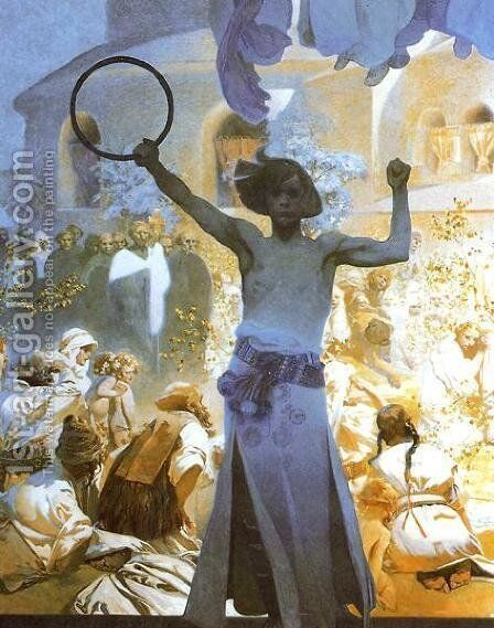 The Introduction of the Slavonic Liturgy (detail) 1912 by Alphonse Maria Mucha - Reproduction Oil Painting
