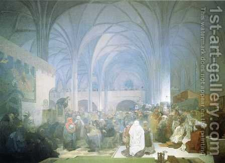 Master Jan Hus Preaching at the Bethlehem Chapel. 1916 by Alphonse Maria Mucha - Reproduction Oil Painting