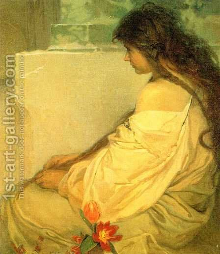 Girl with Loose Hair and Tulips. 1920 by Alphonse Maria Mucha - Reproduction Oil Painting