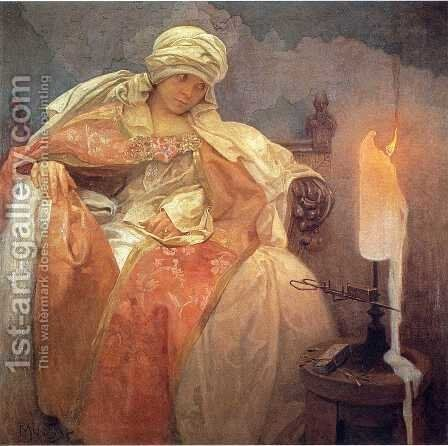 Woman with a Burning Candle, 1933 by Alphonse Maria Mucha - Reproduction Oil Painting