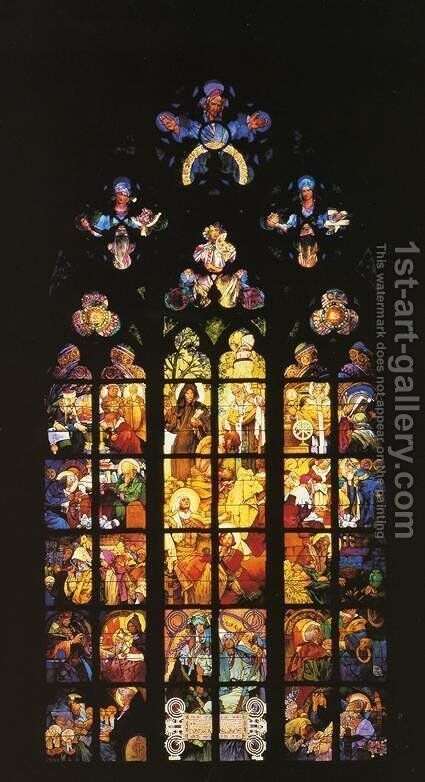 Stained-Glass Window in St. Vitus Cathedral by Alphonse Maria Mucha - Reproduction Oil Painting