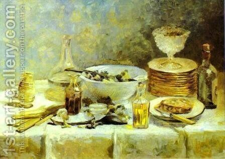 Still Life with Salad Greens. c. 1887-1888 by Edouard  (Jean-Edouard) Vuillard - Reproduction Oil Painting