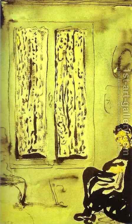 Figure in front of a Window with Drawn Curtains (Figure aupres d'une fenetre a rideaux fermes) 1891 by Edouard  (Jean-Edouard) Vuillard - Reproduction Oil Painting
