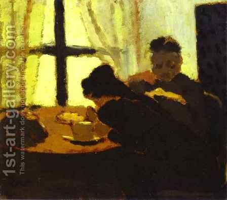 The Breakfast near the Window (Le Petit Dejeuner devant la fenetre) c. 1892 by Edouard  (Jean-Edouard) Vuillard - Reproduction Oil Painting
