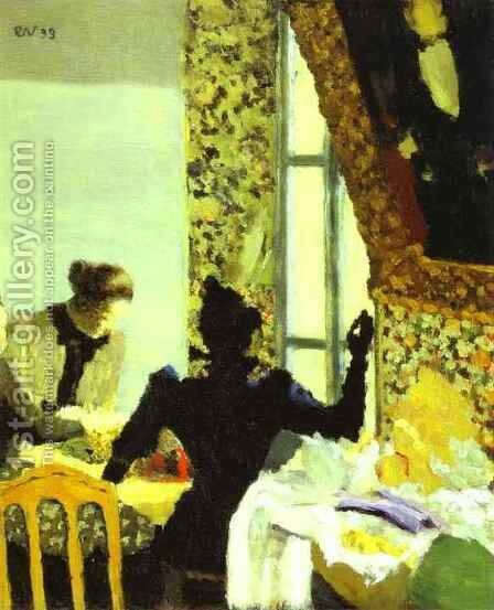 Lenght of Thread or Interior with Sewing Women (L'Aiguillée ou Interieur aux couturieres) 1893 by Edouard  (Jean-Edouard) Vuillard - Reproduction Oil Painting