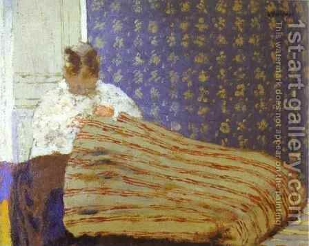 Mrs Vuillard Sewing (Madame Vuillard cousant) 1893 by Edouard  (Jean-Edouard) Vuillard - Reproduction Oil Painting