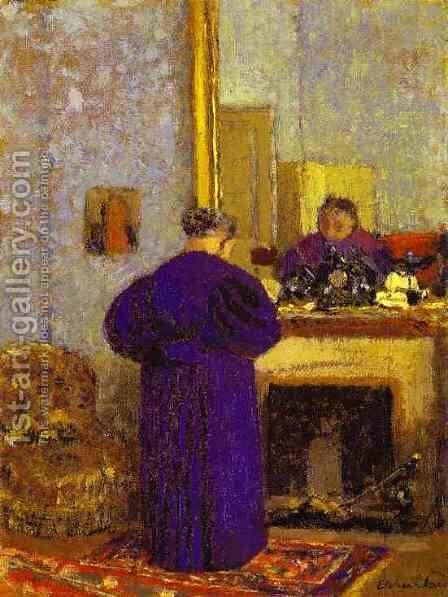 Old Woman in front of the Fireplace (La vielle femme pres de la cheminee) c. 1895 by Edouard  (Jean-Edouard) Vuillard - Reproduction Oil Painting
