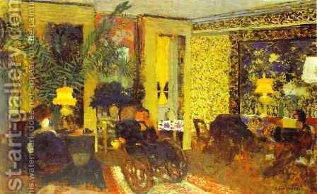 Interior. Sitting Room with Three Lamps, Saint-Florentin Street (Interieur. Le Salon aux trois lampes, rue Saint-Florentin) 1899 by Edouard  (Jean-Edouard) Vuillard - Reproduction Oil Painting