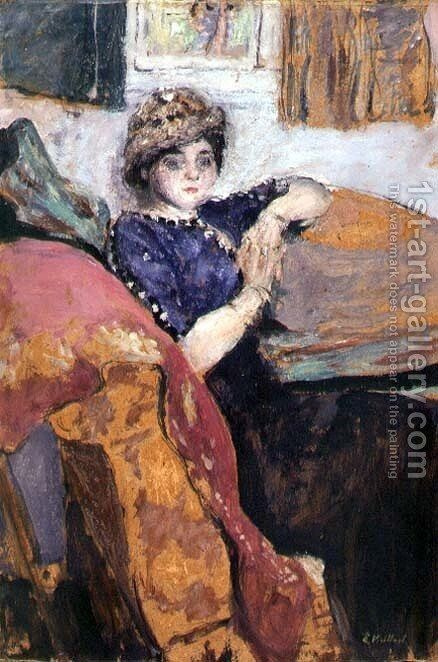Mlle. Nathanson in the Artist's Studio, c.1912 by Edouard  (Jean-Edouard) Vuillard - Reproduction Oil Painting