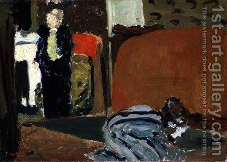 Woman Looking Under a Bed, c.1895 by Edouard  (Jean-Edouard) Vuillard - Reproduction Oil Painting