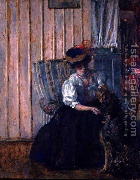 Portrait of Madame Bonnard with her Dog at Rue Drouai, 1907 by Edouard  (Jean-Edouard) Vuillard - Reproduction Oil Painting