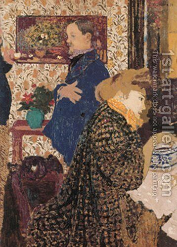 Valloton and Misia in the Dining Room at Rue Saint-Florentin, 1899 by Edouard  (Jean-Edouard) Vuillard - Reproduction Oil Painting