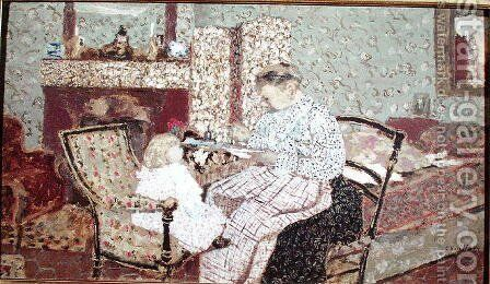 Woman Feeding a Child (Annette, daughter of Ker Xavier Roussel) 1901 by Edouard  (Jean-Edouard) Vuillard - Reproduction Oil Painting