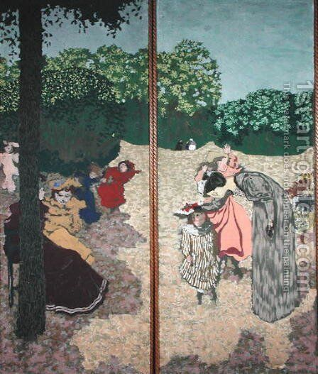 The Public Gardens: Young Girls Playing and the Interrogation, 1894 by Edouard  (Jean-Edouard) Vuillard - Reproduction Oil Painting