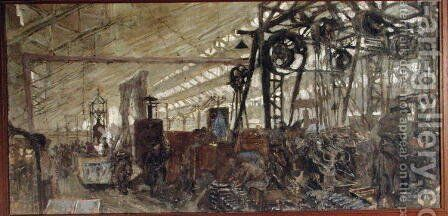 Interior of a Munitions Factory: The Forge, 1916-17 by Edouard  (Jean-Edouard) Vuillard - Reproduction Oil Painting