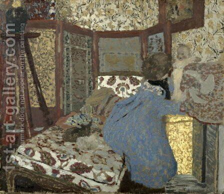 Woman in Blue with a Child, c.1899 by Edouard  (Jean-Edouard) Vuillard - Reproduction Oil Painting