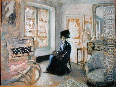 Model in a Blue Dress by Edouard  (Jean-Edouard) Vuillard - Reproduction Oil Painting