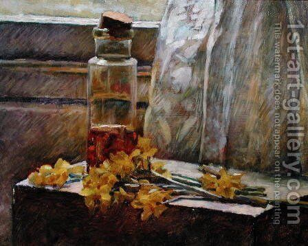 Bottle with Flowers, 1890 by Edouard  (Jean-Edouard) Vuillard - Reproduction Oil Painting