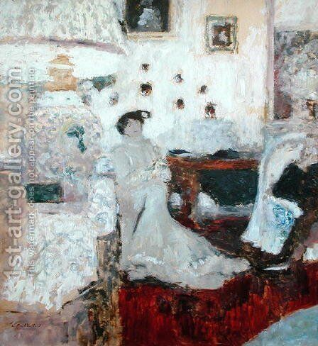 The Conversation under the Lamp, c.1914 by Edouard  (Jean-Edouard) Vuillard - Reproduction Oil Painting