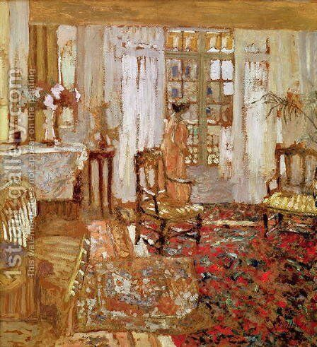 Interior with a Woman in Yellow in Front of a Window by Edouard  (Jean-Edouard) Vuillard - Reproduction Oil Painting