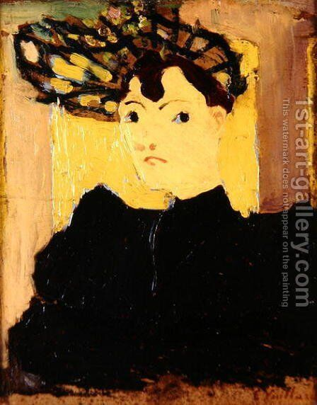 Woman in a Green Hat, c.1890 by Edouard  (Jean-Edouard) Vuillard - Reproduction Oil Painting