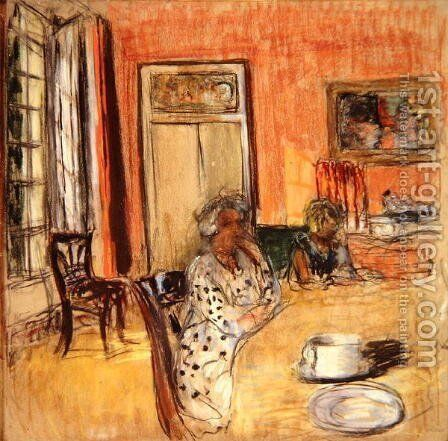 Madame Hessel and Lulu in the Dining Room at the Chateau des Clayes by Edouard  (Jean-Edouard) Vuillard - Reproduction Oil Painting