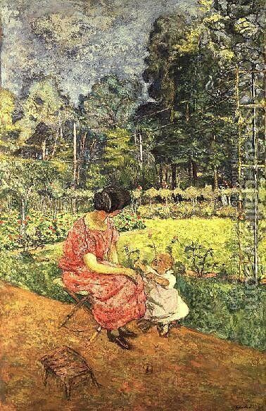 Woman and Child in a Garden (2) by Edouard  (Jean-Edouard) Vuillard - Reproduction Oil Painting