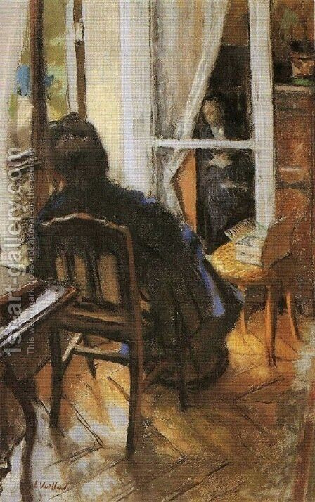 At the Window by Edouard  (Jean-Edouard) Vuillard - Reproduction Oil Painting