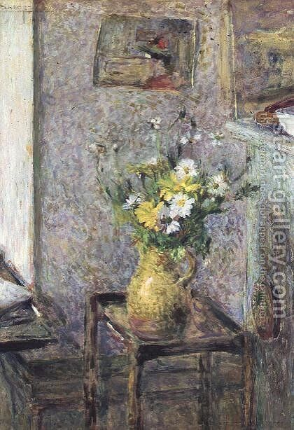 Stoneware Vase with Flowers by Edouard  (Jean-Edouard) Vuillard - Reproduction Oil Painting