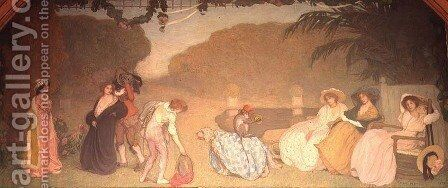 Young Girls Watching an Open Air Theatre, 1909 by Edmond-Francois Aman-Jean - Reproduction Oil Painting