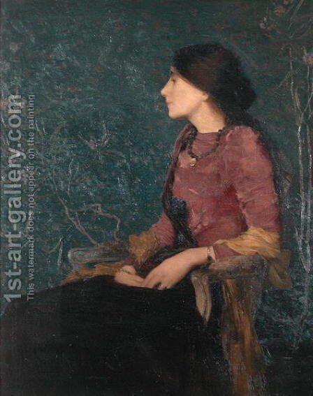 Seated Portrait of Thadee-Caroline Jacquet, later Madame Aman-Jean, before 1892 by Edmond-Francois Aman-Jean - Reproduction Oil Painting