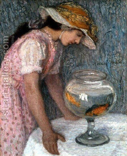 Young Girl with a Goldfish by Edmond-Francois Aman-Jean - Reproduction Oil Painting