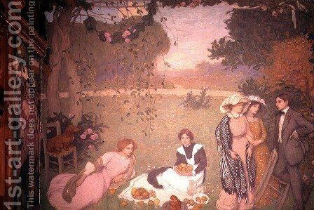 Lunch on the Grass, 1910 by Edmond-Francois Aman-Jean - Reproduction Oil Painting